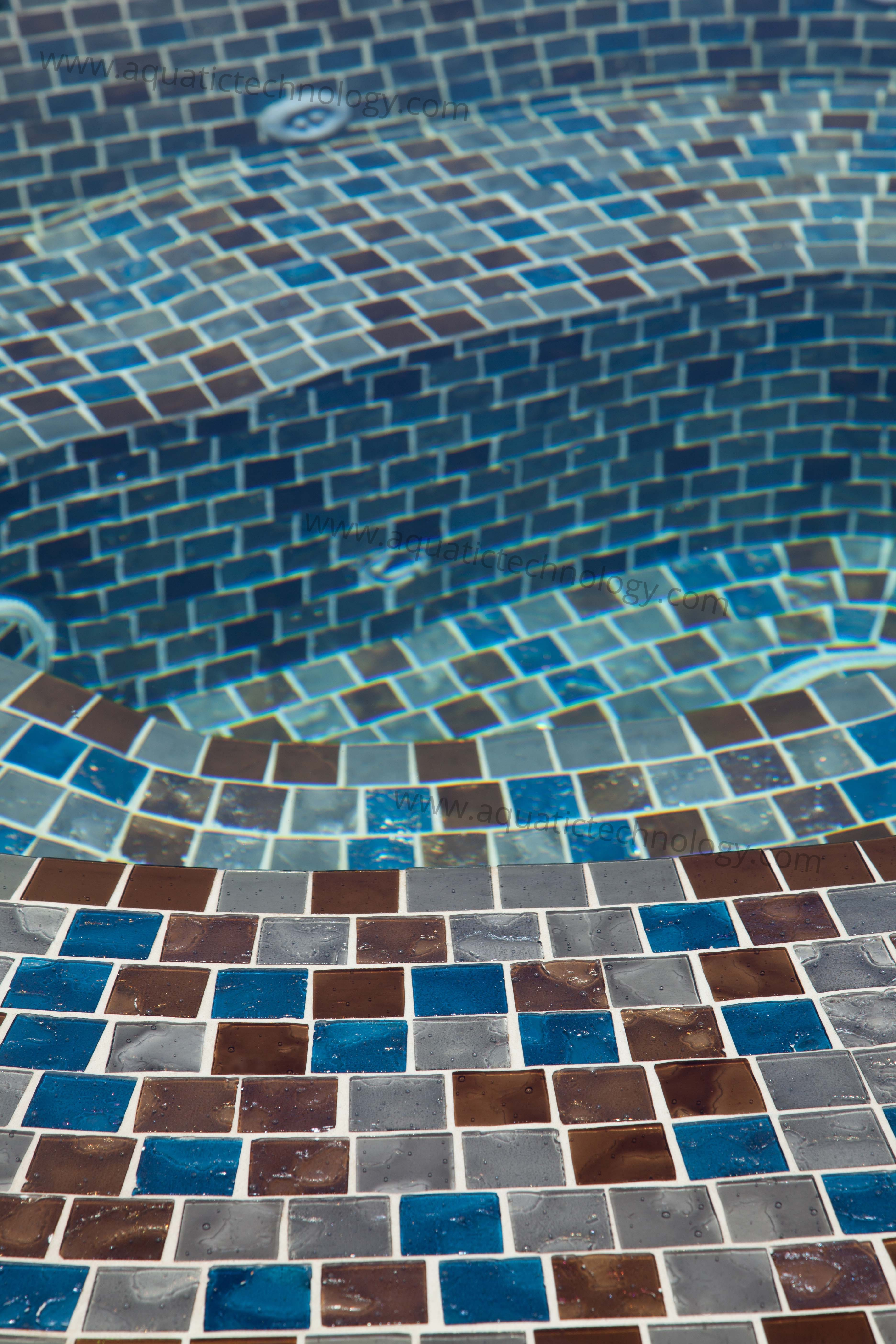 Slot edge glass tile spa