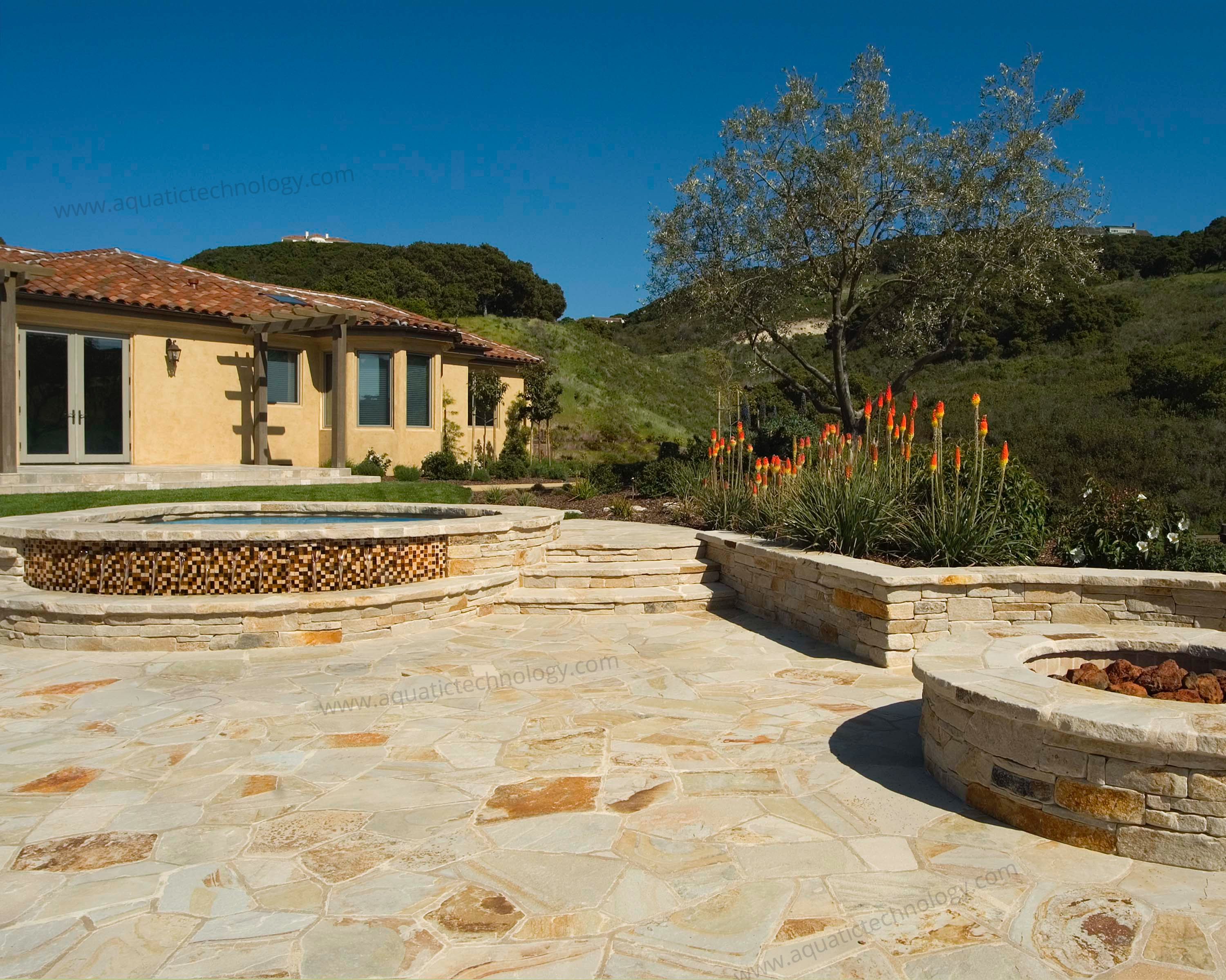 Stone patio glass tile spa fire ring