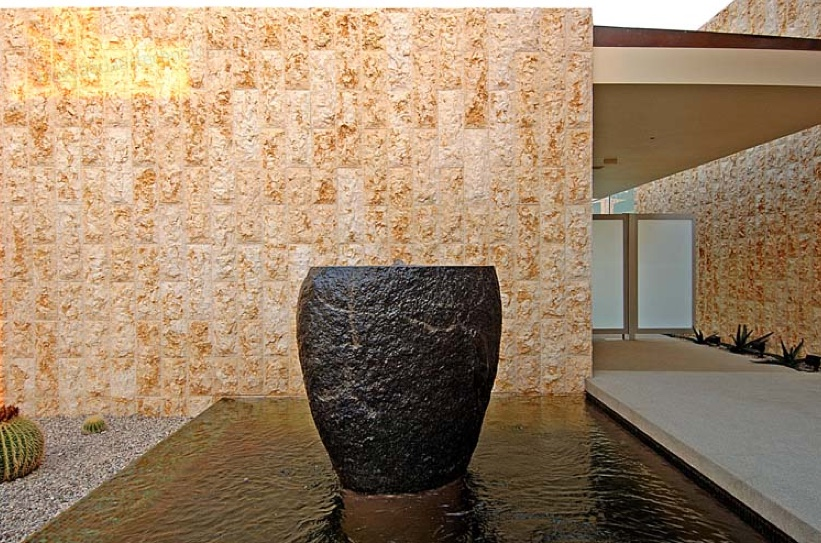Glass tile entry watershape stone urn
