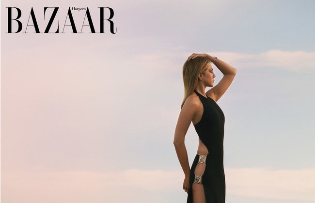 Jennifer Aniston - April 2016 Harpers Bazaar - Standing in Custom Pool by Paolo Benedetti     Malibu, CA