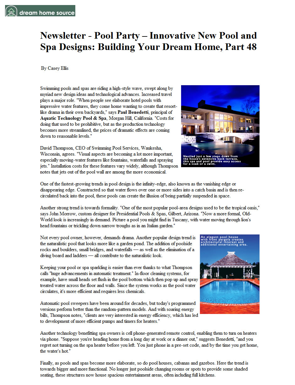Dream Home Source Newsletter - Pool Party